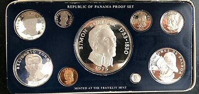 Silver Proof Nine Coin 1975 Panama Set, Franklin Mint, Silver, Balboa Coin