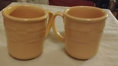 Longaberger 2 Pottery Woven Tradition Yellow Coffee Tea Cider Mugs Cups
