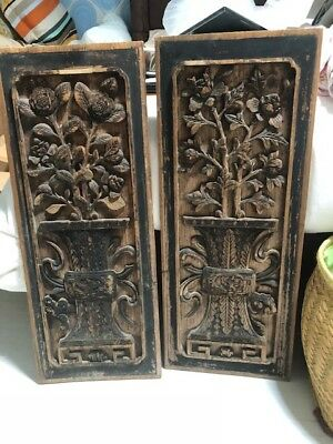 Carved, antique wooden panels - very lightweight. Measures 12 x 30