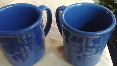 Longaberger 2 Pottery Woven Tradition Cornflower  Coffee Tea Cider Mugs Cups