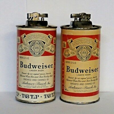 2 - Budweiser Lager & Tab Top Music Box Beer Can Lighters - St. Louis, Missouri