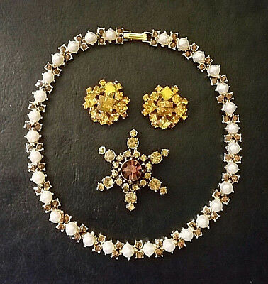 VTG RHINESTONE NECKLACE Faux Pearl Gold Plated + Brooch Clip Earrings BROWN GOLD