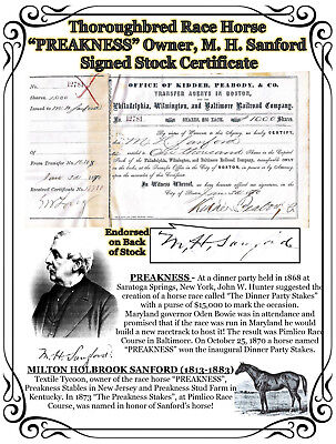 """Thoroughbred Race Horse """"PREAKNESS"""" Owner M. H. Sanford Signed Stock Certificate"""