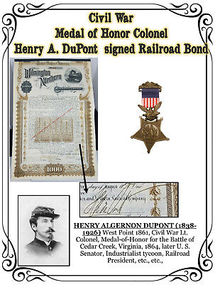 CIVIL WAR Medal of Honor Colonel Henry A. DuPont, signed Railroad Bond