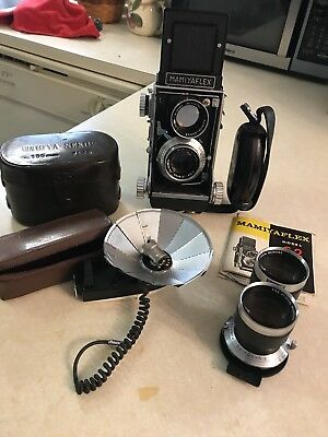 Fine Vtg Mamiya Mamiyaflex C2 Camera Outfit Seikosha Lenses Manual Caps Flash!