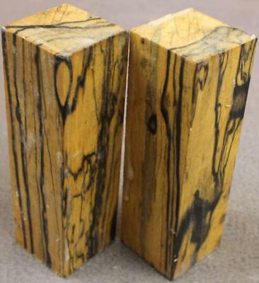 Black And White Ebony Turning Blank, Duck Call, Cue But, Etc. 2 Pieces. (Bwe158)