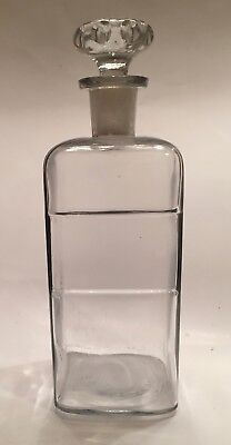 1894 Apothecary, Druggist, Pharmacy, Chemist Clear Glass Bottle with Stopper