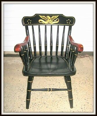 Vintage Hitchcock Captain's Chair With Eagle Emblem