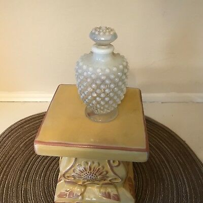 VINTAGE WHITE & ClLEAR MILK GLASS HOB NOB perfume bottle & stopper mint
