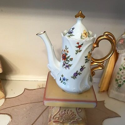 ANTIQUE flower teapot China, flowers, gold handle delicate handpainted signed RK