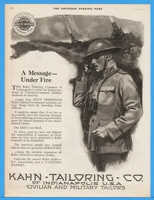 1918 Kahn Tailoring Indianapolis WWI US Army Officer Uniform Phone Canon Ad