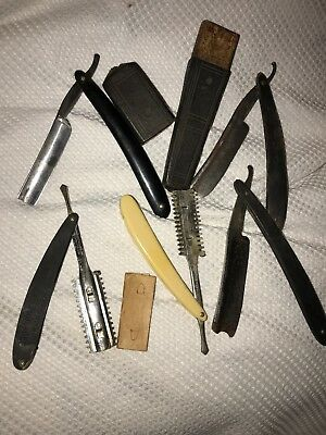 Antique Straight Razors Mixed Lot of 5 Old Vintage Barber Shaving Tools