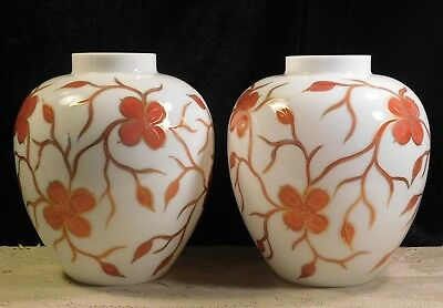2 Phoenix Consolidated Milk Glass Ginger Jars Hand Painted Gold & Red Flowers