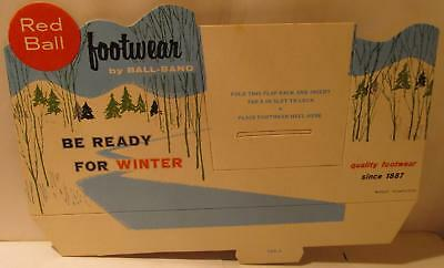 Red Ball Footwear Cardboard Ball Band Shoe Store Winter Display Ad Sign 1950s