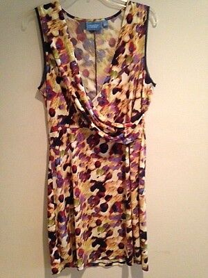 Simply Vera Wang Women's Gold & Purple Sleeveless Dress V-neck L Large