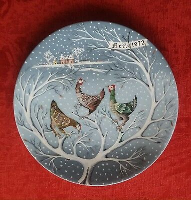 "Haviland Limoges 12 Days of Christmas Plate ""Three French Hens"" 1972 w/box"