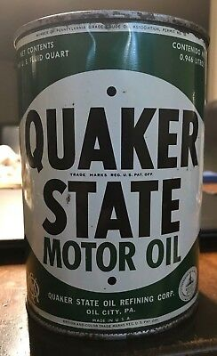 Vintage Quaker State Motor Oil 1 Quart Can - Empty - Sae 40 - Great Condition