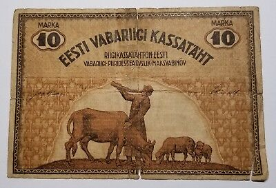 1919 Estonia 10 Marka Foreign Paper Currency Note Pick 46