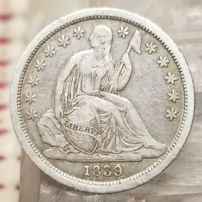 1839 Seated Liberty Dime Silver 10C Coin