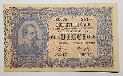 1925 Italy 10 Lire Paper Currency Note Pick 20h Maltese and Rossolini