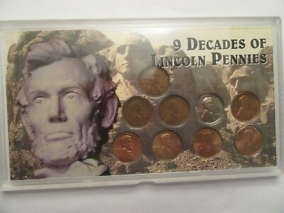 9 decades of Lincoln pennies, 9 coins, acrylic holder