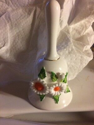 VTG. BONE CHINA BELL w/ WHITE & ORANGE FLOWERS w/GREEN LEAVES, HAND PAINTED