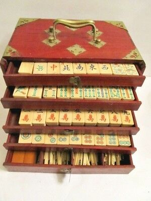 Antique Mah Jong Game Box with Colorful Tiles