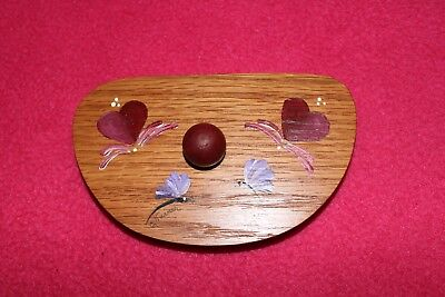 Oregano Lid for Oregano Basket by Longaberger - hand-painted with burgundy heart
