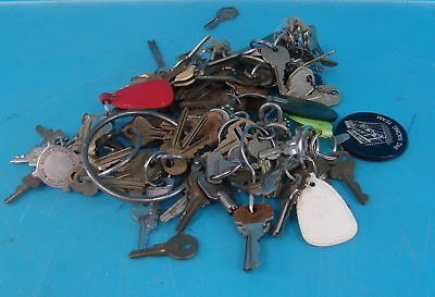 Large Lot of 50+ Random Metal Vintage Keys & Key Chains W/ Early Holding Rings