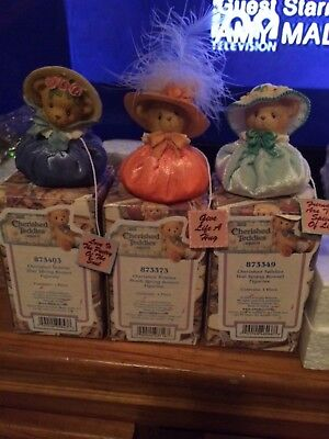Cherished Teddies Spring Bonnet Figurines Blue, Peach and Teal
