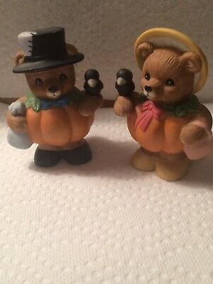 """Vintage Homco # 14641-98 Pumpkin Patch  Bears Set Of 2 """" BEAUTIFUL COLLECTIBLE"""