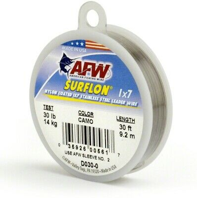 AFW D135-0 Surflon, Nylon Coated 1x7 Stainless Leader Wire, 135 lb