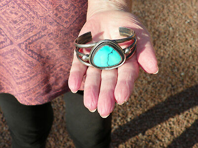 Vintage Navajo - Sterling Silver & Turquoise Cuff / Bracelet - Signed - 52 Grams