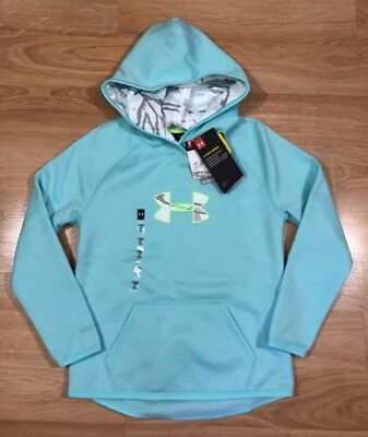 Girls UNDER ARMOUR STORM Hoodie YSM Loose Green And Camo NEW!!