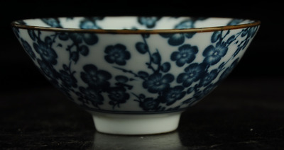 Chinese antique hand-made Blue and White porcelain plum blossom pattern bowl a02