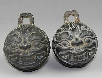 2pcs Exquisite old Chinese bronze tiger head bell Free shipping