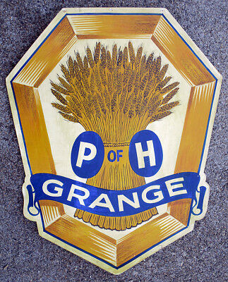 1950s Vintage P of H GRANGE Hand Painted SIGN Sheaf Wheat PATRONS OF HUSBANDRY