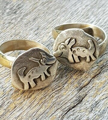 2 Best Friends Brother/Sisters Cute Little Handmade Quirky Dog Rings Adjust .R85