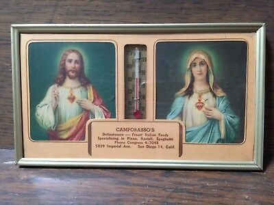 Vintage Glass Thermometer Advertising Italian Restaurant W/ Jesus and Mary Image