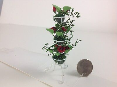Dollhouse Miniature Home/Garden/Yard 3 Tier Handmade Clay Red Roses Flowers 1:12