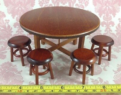 Dollhouse Miniature Home Kitchen Furniture Round Wood Dining Table 4 Chairs 1:12