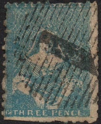 1857-59 Victoria 3d Blue Half length perforated Issue Used ASC.14  Spacefiller