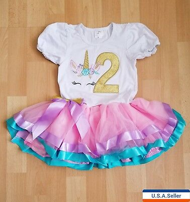 Unicorn Baby Girl Birthday Party Outfit Dress 2 Year Old