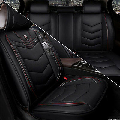 Sport Racing Full Set Car Seat Cover PU Leather Front + Rear Black & Red