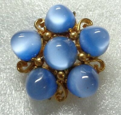 Vintage Art Deco Blue Moon Glow Glass Cabochon Star Burst style Brooch