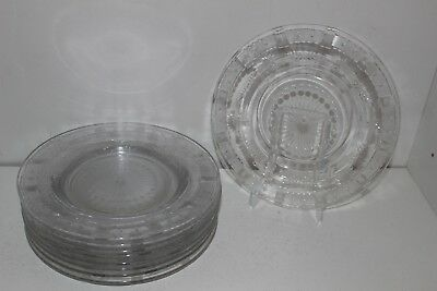 """9 Antique Intricate Cut & Etched Glass 8.5"""" Salad/luncheon Plates-Stars/flowers"""