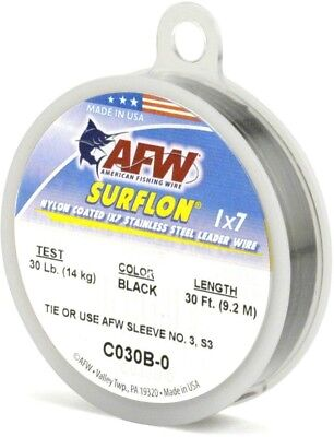 AFW C045B-0 Surflon, Nylon Coated 1x7 Stainless Leader Wire, 45 lb