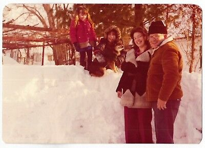 Vintage 70s PHOTO Family w/ Little Girls & Dog In Snow, Utica NY