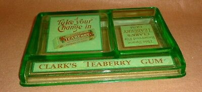 old vaseline glass Teaberry chewing gum antique advertising change receiver tray