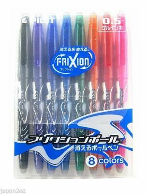 8 FRIXION ERASABLE COLOUR PENS 0.5 Ballpoint Gel Ink Pilot Japan FREE AIRMAIL